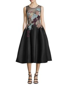 Sleeveless+Embroidered+Fit+&+Flare+Dress+by+Jovani+at+Neiman+Marcus.