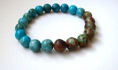 Bracelet homme - Bracelet perles - Agate et turquoise africaine 10mm - Cadeau pour lui - Bijoux homme - Bracelet élastique - Bracelet yoga de la boutique Perlesforever sur Etsy