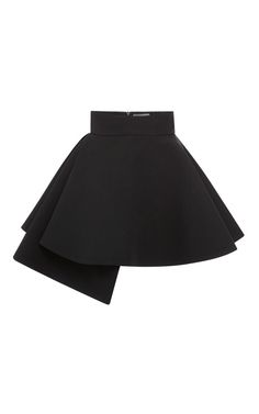 Black Cady Side Drape Mini Skirt by Fausto Puglisi - Moda Operandi
