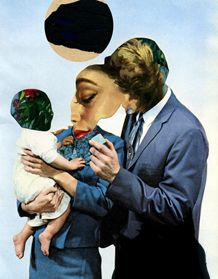 Paul Burgess. Image shows a family but the mothers face has been imposed on both the man and woman which may mean the woman is more important than the man in the baby's life. Woman is taking role of mother and father. It has been created by cutting out the faces from the foreground image, then putting the secondary image behind it, showing the mothers face.