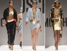 From Jeremy Scott's Moschino Fall/Winter 2014 collection, these pieces resemble the African-American fashion that was popular in the 1980's. Hip-hop influences are still popular in clothing that is designed today. Gold chains, dramatic earrings, and athletic inspired clothing are parts of this style. --3/30/15
