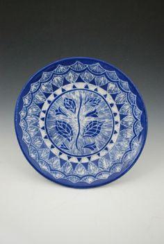 Rebecca A. Grant Ceramics: Sgraffito Blue Flower Plate