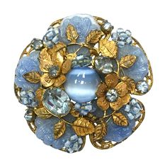 Beautiful Vintage Miriam Haskell blue poured glass, cat eye glass and rhinestone flower brooch - Schmuck - Sea Glass Jewelry, Jewelry Art, Antique Jewelry, Vintage Jewelry, Fine Jewelry, Fashion Jewelry, Jewellery, Antique Gold, Red Jewelry