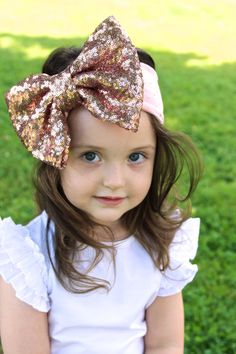 Blush Pink Big Sequin Bow with Gold Dot by GettinGussiedUp on Etsy