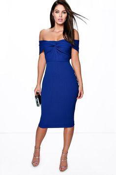 Iris ~ ~ Off The Shoulder Twist Detail Bodycon Dress in bright royal BLUE