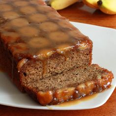 Caramel Banana Upside Down Bread- brown sugar, butter, bananas, chopped walnuts or pecans, whole wheat flour, granulated sugar, baking powder, baking soda, salt, cinnamon, mashed overripe bananas, eggs, vegetable oil, buttermilk, vanilla. Try in muffin tin.