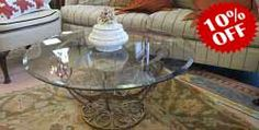Round Metal Coffee Table  Description: 48841 – Gold Toned Round Metal Coffee Table w/Glass Top 36x17.5  $700.00