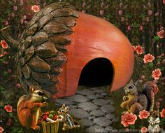 An acorn house for your fairy garden! at Enchanted Gardens--thinking I could make this from a dried gourd and a pinecone. Toad House, Gnome House, Fairy Garden Houses, Gnome Garden, Acorn House, Kobold, Fairy Doors, Enchanted Garden, Miniature Fairy Gardens