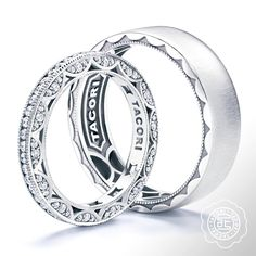 ♥ #Holiday #Specials exclusively at #Capri #Jewelers #Arizona ~ www.caprijewelersaz.com  ♥ Pure platinum crescents, the very fabric of each and every Tacori design. Time to meet your match.   Featuring ladies band style no. HT2550B from the Classic Crescent Collection and Gentlemen's band style no. 105-6S from the Sculpted Crescent Collection.