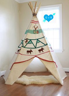 Hand Painted Teepee with dream catcher by OliverRichie on Etsy Kids Tents, Teepee Kids, Teepee Tent, Teepees, Tribal Baby Shower, Baby Boy Shower, Boy Room, Kids Room, Wooden Teepee