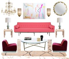 Bijou and Boheme moodboard, burgundy, pink, mint