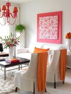 favorite patterned fabric + coordinating solid fabric + 2 pieces of MDF = easy large diy art!