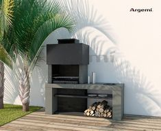 Barbacoa_obra_Monacoa_amb_pica – Rebel Without Applause Outdoor Bbq Kitchen, Outdoor Barbeque, Modern Outdoor Fireplace, Outdoor Living, Design Barbecue, Parrilla Exterior, Built In Braai, Terrasse Design, Casas Containers