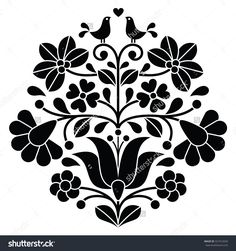 stock-vector-kalocsai-black-embroidery-hungarian-floral-folk-pattern-with-birds-321912650.jpg (1500×1600)