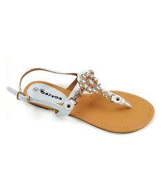 White Embellished T-Strap Sandal