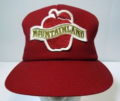 b8da65b3a27 Vintage Mountainland Apple Snapback Red Trucker Hat Cap  CAP  BaseballCap