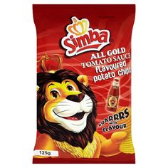 Simba Chips All Gold Tomato Sauce flavoured potato chips Snack Recipes, Snacks, Potato Chips, Tomato Sauce, Yummy Treats, Potatoes, African, Gold, Snack Mix Recipes