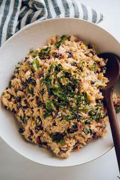 Southwest Pasta Salad, made with orzo. #garnishedplate #pastasalad #orzo #southwest #picnic #potluck