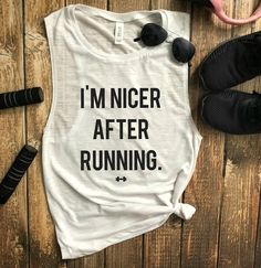 About Im Nicer After Running Tank Top This tank top is Made To Order, we print one by one so we can control the quality. We use DTG Technology to print Im Nicer After Running Tank Top . Funny Workout Tanks, Funny Gym, Running Tank Tops, Funny Running Shirts, Gym Shirts, Workout Shirts, After Running, Running Humor, Running Gear
