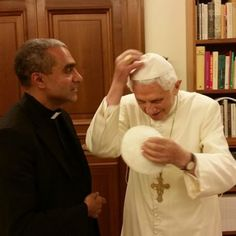 Priest Swaps Clerical Hats with 'Sharp, Healthy' Benedict XVI
