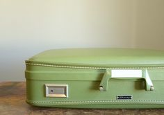 Vintage Wheary HardSided Suitcase  Avocado Green by TheFancyLamb