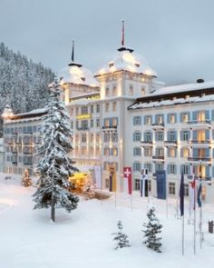 Kempinski Grandhotel des Bains  ( Sankt Moritz-Dorf, Switzerland )  In historic St. Mortiz, the Kempinski Grand Hotel des Bains is a destination for ski lovers. #Jetsetter