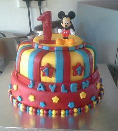 2 tier Mickey mouse theme cake