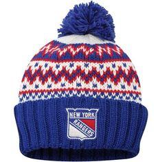 Women's New York Rangers CCM Royal Blue Cuffed Current Knit Hat. Gotta love the pom pom.