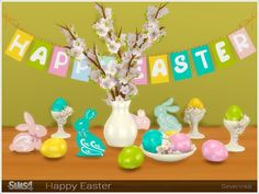 Created By Severinka Happy Easter Created for: The Sims 4 Set of Easter decor for decorating the living room / dining room / kitchen The set includes 13 objects: - apple tree branches in a vase -. The Sims, Sims Cc, Sims 4 Kitchen, Room Kitchen, Dining Room, Sims 4 Seasons, Sims 4 Controls, Seasonal Decor, Holiday Decor