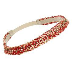 Headband tresse et cristaux (corail) - Bijoux Fantaisie Créateurs