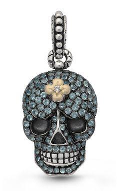 Roses Never Die Skull Charm – Blue Topaz & Diamond – Barbara Bixby