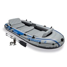 Intex Excursion 5 Inflatable Rafting and Fishing Boat with Oars + Motor Mount in Sporting Goods, Water Sports, Kayaking, Canoeing & Rafting, Inflatables Kayak Fishing, Fishing Boats, Fishing Tips, Saltwater Fishing, Fishing Shirts, Fishing Tackle, Fishing Cart, Marlin Fishing, Fishing Pliers
