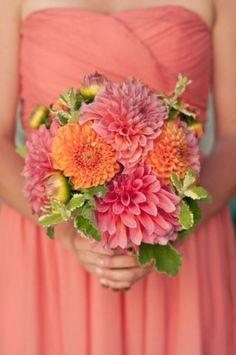 flowers - dahlias (bouquets centerpiece ideas) | Coral bridesmaid with grey pearl earrings | #EndoraJewellery - Swarovski pearl jewellery