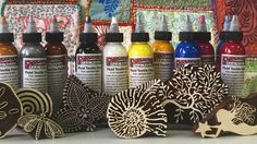 Artistic Artifacts Fluid Textile Paints and wooden printing blocks work well together for printing on fabric and paper. Mixed Media Artists, Better Together, Printing On Fabric, Hand Carved, Carving, Quilts, Art Supplies, Creative, September
