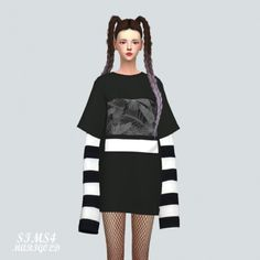 Boxy T-shirt With Long Sleeve by Marigold for The Sims 4