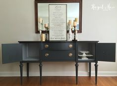 Queenstown Gray Hepplewhite Buffet (Available for Purchase) This classic Hepplewhite buffet was redesigned in a deep, rich gray – Queenstown Gray Milk Paint by General Finishes. I have been …