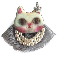 ****Last One**** Regal kitty cat brooch from One Button complete with mini crown and pearls. Fastens with a single bar clip at the back. Colour grey/white/pink Mounted on card Organza gift bag included Organza Gift Bags, Happy Shopping, Brooch Pin, Ball Gowns, Button Jewellery, Jewelry Watches, Kitty, Pearl Necklaces, Buttons