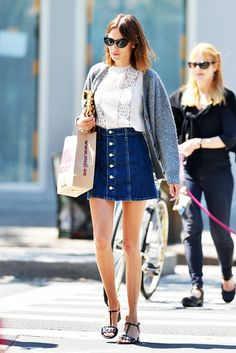 I want a buttoned denim skirt so badly! Lands End has some like this right now, but longer...Alexa Chung Denim Skirt