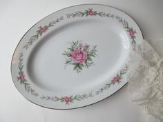 Vintage Fine China of Japan Melody Rose Pink Blue by thechinagirl