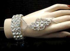 Art Deco Bracelet, Vintage Style Rhinestone Bracelet, 1920s Crystal Bridal Bracelet, Great Gatsby Jewelry, Ring Bracelet, Slave Bracelet by AyansiWeddingDesigns on Etsy