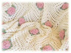 CRQ03 Pink Crochet Roses Quilt