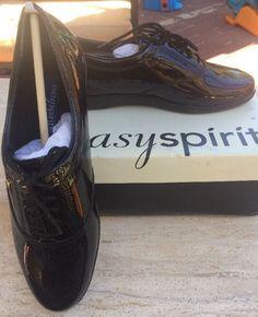 pretty nice 23080 a1e65 NIB Easy Spirit Motion Womens Shoes Tie Flats Oxfords Sz 9 Black Patent  Leather  eBay