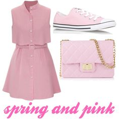 time when you can wear pink clothes - spring!!! by looksbyrina on Polyvore featuring polyvore fashion style Converse Design Inverso