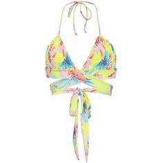 Tori Praver Myra Wrap Smocked Bikini Top ($100) ❤ liked on Polyvore featuring swimwear, bikinis, bikini tops, floral, wrap swimsuit top, ruffle tankini top, wrap bikini top, wrap bikini and floral bikini