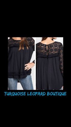 Love this top!!! Lace split black babydoll top is $32. There is a small, medium, and large left. Comment email address and size to order!! #turquoiseleopardboutique