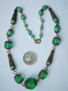 Vintage Art Deco Czech Glass Bead Necklace | eBay