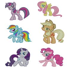 SET OF 6 My Little Pony Embroidery Design Files by embroiderybygin, $25.00