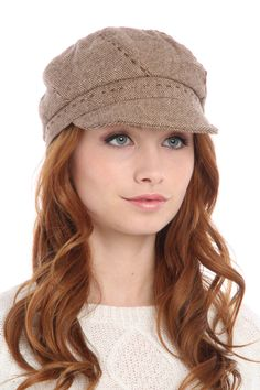 Grace Hats Tweed Stitch Hat In Beige -If only I could wear this:) So darn cute...