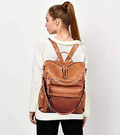 Women Backpack Purse, Fashion Leather Designer Ladies Rucksack, Convertible Travel Shoulder Bag with Colorful strap Backpack Purse, Leather Backpack, Leather Bag, Women's Handbags, Leather Handbags, Everyday Items, Back Strap, Convertible, Colorful