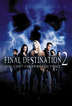 Final Destination 2 (2003) When Kimberly has a violent premonition of a highway pileup she blocks the freeway, keeping a few others meant to die, safe...Or are they? The survivors mysteriously start dying and it's up to Kimberly to stop it before she's next.